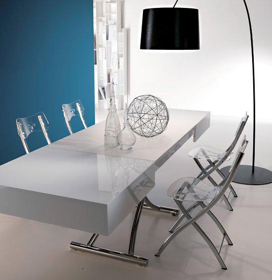 Mesa de centro convertible en mesa de comedor laca Moderna Box