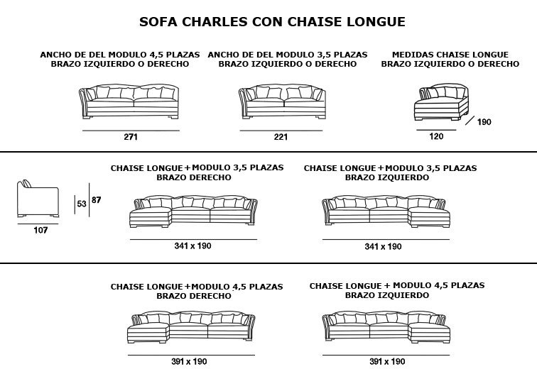 Sofá Charles 4.5 plazas con Chaise Longue