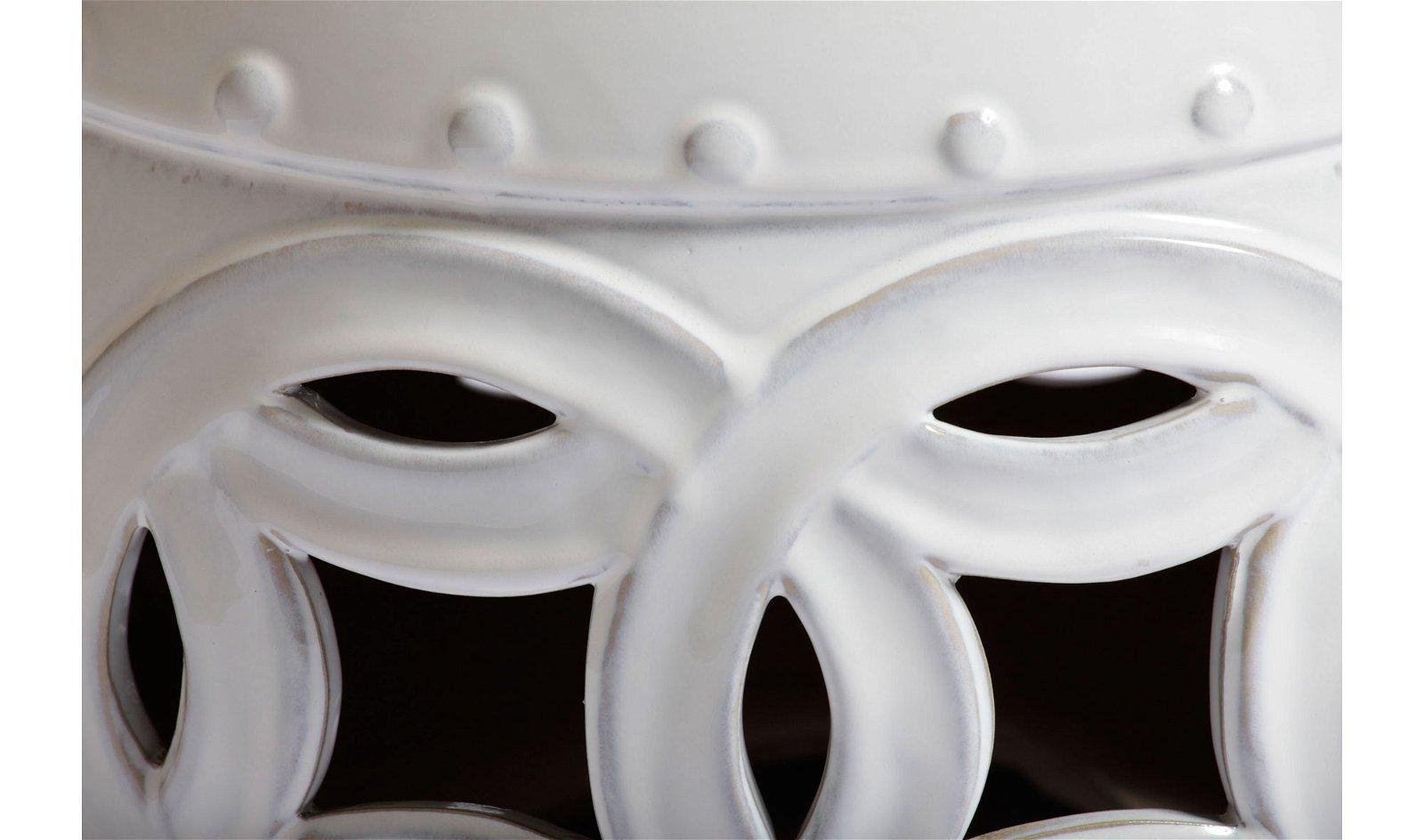 Taburete cerámico bajo blanco