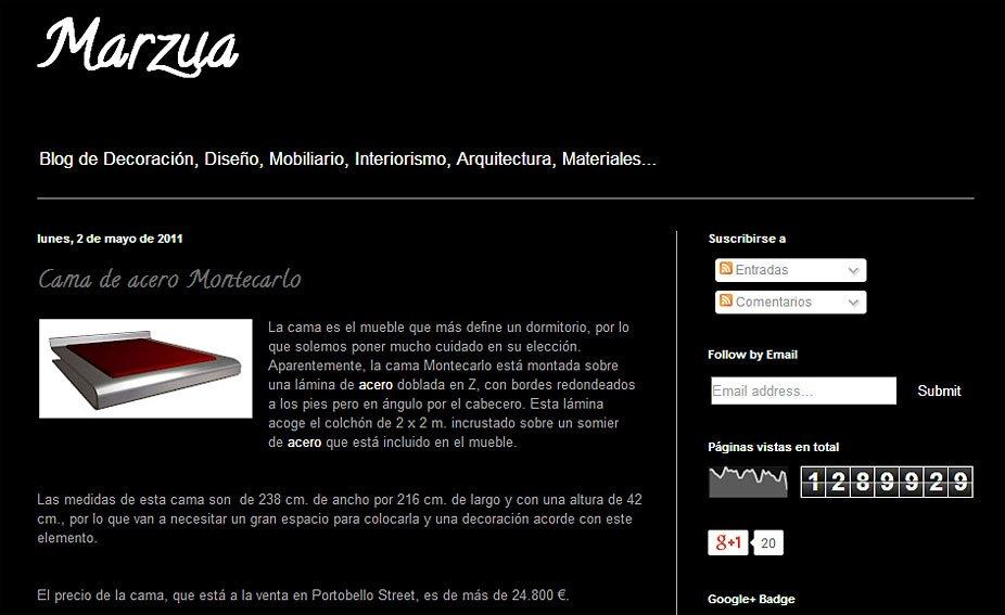 Cama de acero Montecarlo con Portobello en marzua.blogspot.com.es