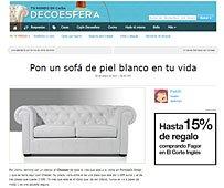 Pon un sofá de piel blanco con Portobello en
