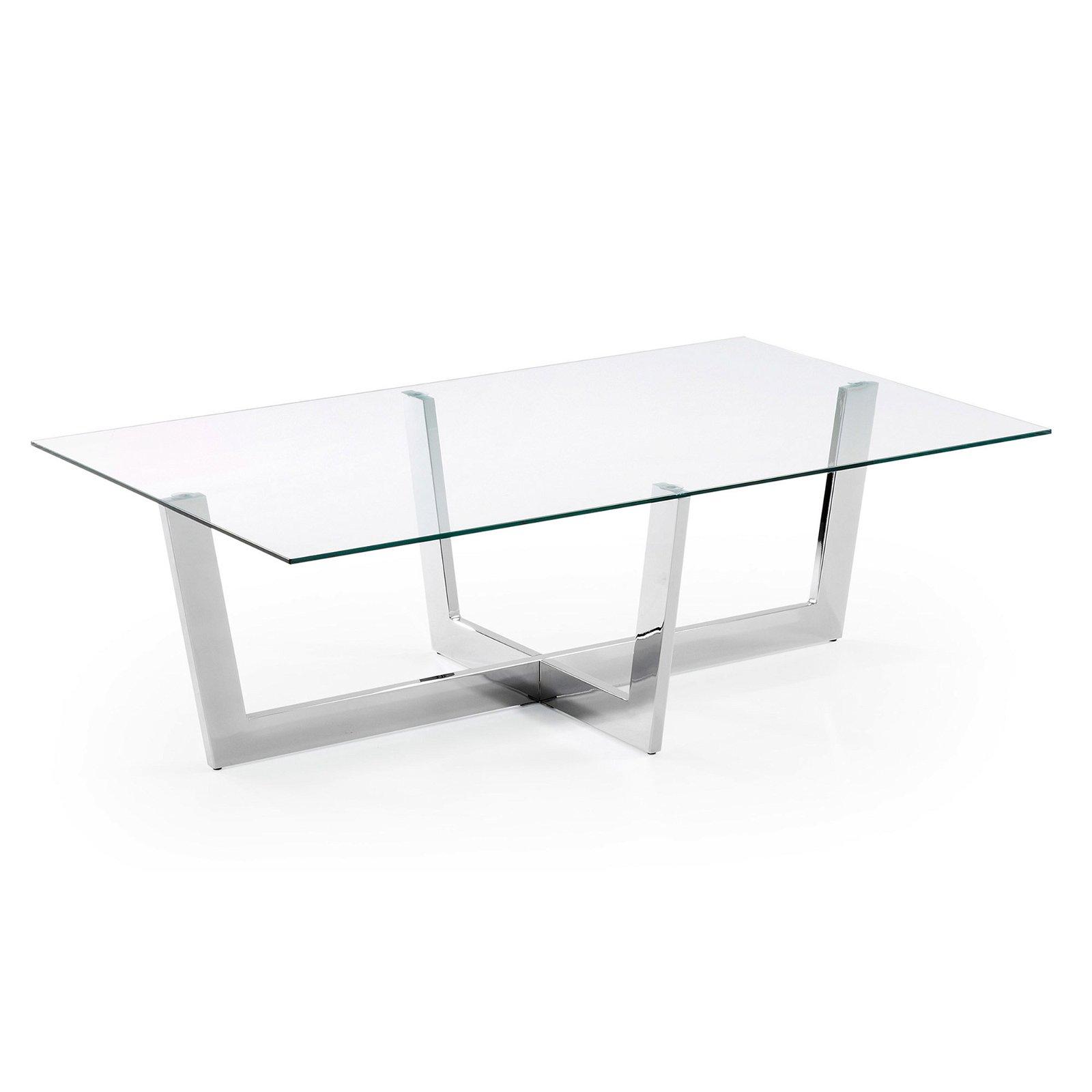 PLUM mesa centro cromada cristal transparente
