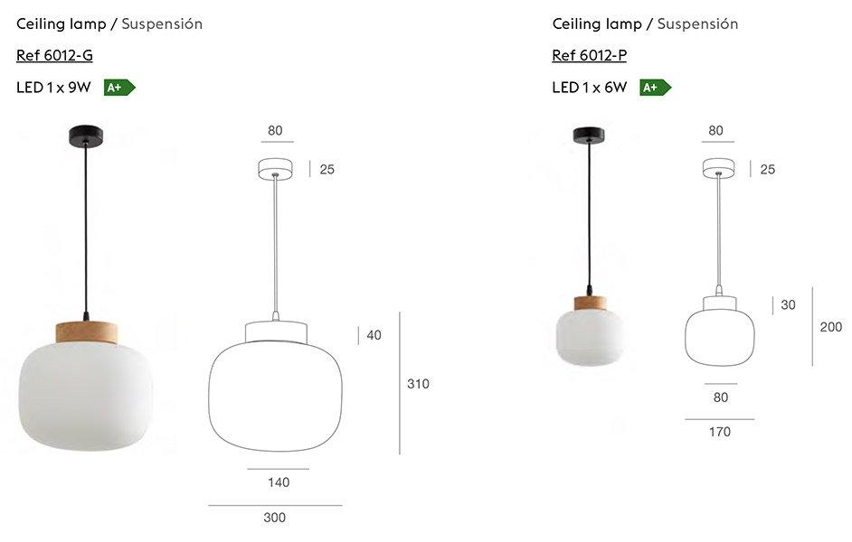 Lámpara de techo madera Bulbo