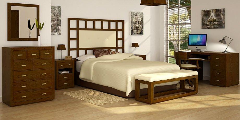 Dormitorio Manhattan color nogal tapizado
