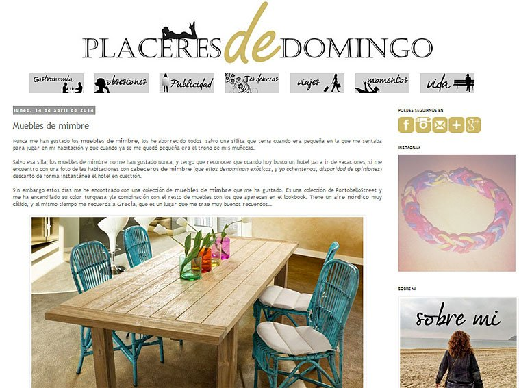 Muebles de mimbre con Portobello en placeresdedomingo.blogspot.com.es