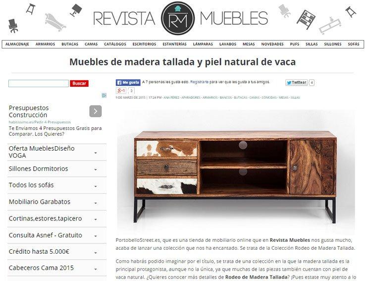 Muebles de madera tallada y piel natural de vaca con Portobello